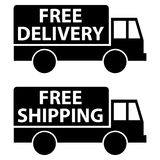Free delivery and shipping. Two trucks labeled Free Delivery and  Free Shipping Stock Photo