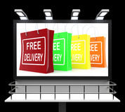 Free Delivery Shopping Sign Showing No Charge Or Gratis To Deliv Royalty Free Stock Photos