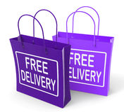Free Delivery Sign on Bags Show No Charge Royalty Free Stock Images