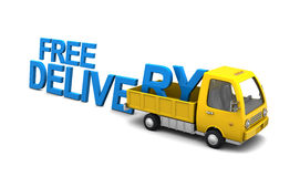 Free delivery sign. 3d illustration of text 'free delivery' and yellow truck, over white background Royalty Free Stock Photography