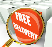 Free Delivery Sign on Packet Show No Charge To Deliver Stock Photo
