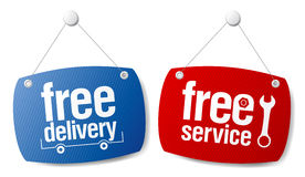 Free delivery signs. Free delivery  signs set Stock Photography