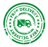 Free delivery stamp. Illustration of a green free delivery stamp isolated on a white background Stock Image