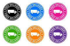 Free delivery. Sticker on the white background vector illustration