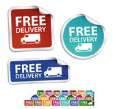 Free delivery stickers, labels, icon, button, mess Stock Image