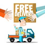 Free Delivery Symbol. With Parcel in Human Hands and Man with Van on Background. Vector Vector Illustration