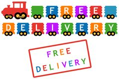 Free delivery symbol - train with colorful car Royalty Free Stock Image