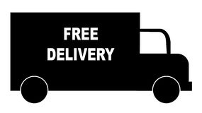 Free delivery truck. Silhouette of truck with words - free delivery - vector Stock Photo
