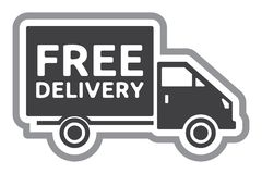 Free delivery truck - free shipping label Royalty Free Stock Images