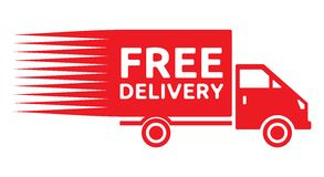 Free delivery truck - free shipping label Stock Photography