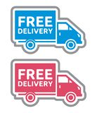 Free delivery truck - free shipping label Stock Photo