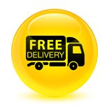 Free delivery truck icon glassy yellow round button Royalty Free Stock Photo