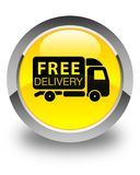 Free delivery truck icon glossy yellow round button Royalty Free Stock Photo