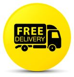 Free delivery truck icon yellow round button Royalty Free Stock Images