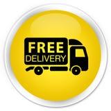 Free delivery truck icon premium yellow round button Royalty Free Stock Photo