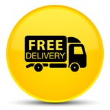 Free delivery truck icon special yellow round button Stock Image