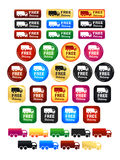 Free Delivery Truck Icons And Badges. Large set of shipping badges and icons Royalty Free Stock Photography