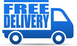 Free delivery truck illustration. Vector illustration on isolated white background - free delivery truck illustration vector illustration