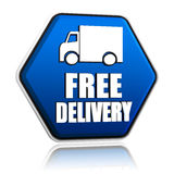 Free delivery and truck sign in blue button Royalty Free Stock Photography