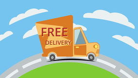 Free delivery van on road. Animation. stock footage