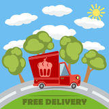 Free delivery van truck with cake vinyl logo. Vector. Free delivery van truck with cake vinyl logo on the road with trees, clouds and sun. Vector concept stock illustration