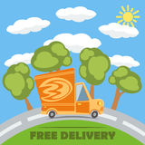 Free delivery van truck with fire vinyl logo. Vector. Free delivery van truck with fire vinyl logo on the road with trees, clouds and sun. Vector concept Royalty Free Stock Photos
