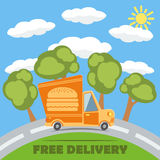 Free delivery van truck with hamburger vinyl logo. Vector. Royalty Free Stock Photography