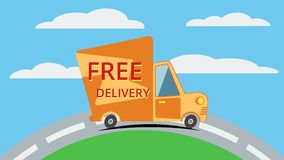 Free delivery van. Vector. Stock Images