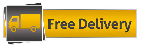 Free Delivery With Van Yellow Black Horizontal Royalty Free Stock Image