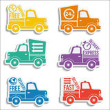 Free delivery vans icon set Royalty Free Stock Photos