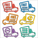 Free delivery vans icons set Stock Image