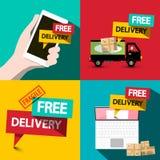 Free Delivery Flat Design Set stock illustration