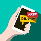 Free Delivery Vector Phone Icon. Free Delivery Vector Flat Design Phone Vector Illustration