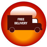 Free delivery web button. Red truck delivery web button or icon Stock Photography