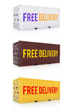 Free delivery white brown yellow metal freight shipping containe Royalty Free Stock Photo