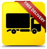 Free delivery yellow square button red ribbon in corner. Free delivery isolated on yellow square button with red ribbon in corner abstract illustration Royalty Free Stock Image