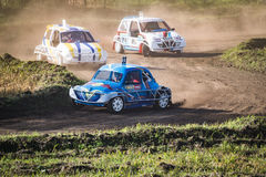 Free demonstration of stock car cross organized by enthusiasts to bring the audience to the sport. Stock Photography