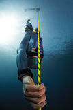 Free diver descending along the rope. Into depth. Free immersion discipline of the sport Stock Photo