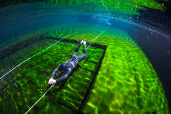 Free diver training Stock Image