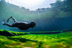 Free diver training Royalty Free Stock Photography