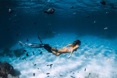 Free diver woman with fins glides over sandy bottom with fishes in transparent sea