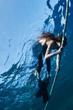 Free diving girl Royalty Free Stock Photo