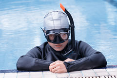 Free diving training on swimming pool Royalty Free Stock Images