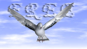 Free Dove in the air with wings wide open stock illustration