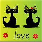 Two black cats and love royalty free illustration