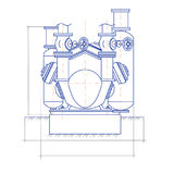Free drawing of the compressor unit Stock Images