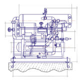 Free drawing of a refrigerating machine. In two colors Royalty Free Stock Photography