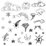 Free drawing of weather symbols on white background Royalty Free Stock Photo