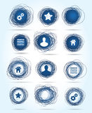 Free-drawn circular business icons in blue Stock Images