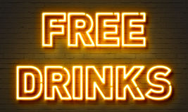 Free drinks neon sign Royalty Free Stock Images